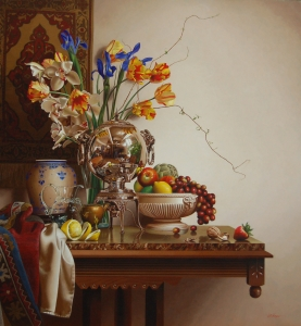 Still Life with Lemon and English Water Urn