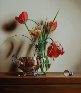Rembrandt Tulips with Pearl