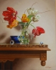 Parrot Tulips with Hand Blown Glass